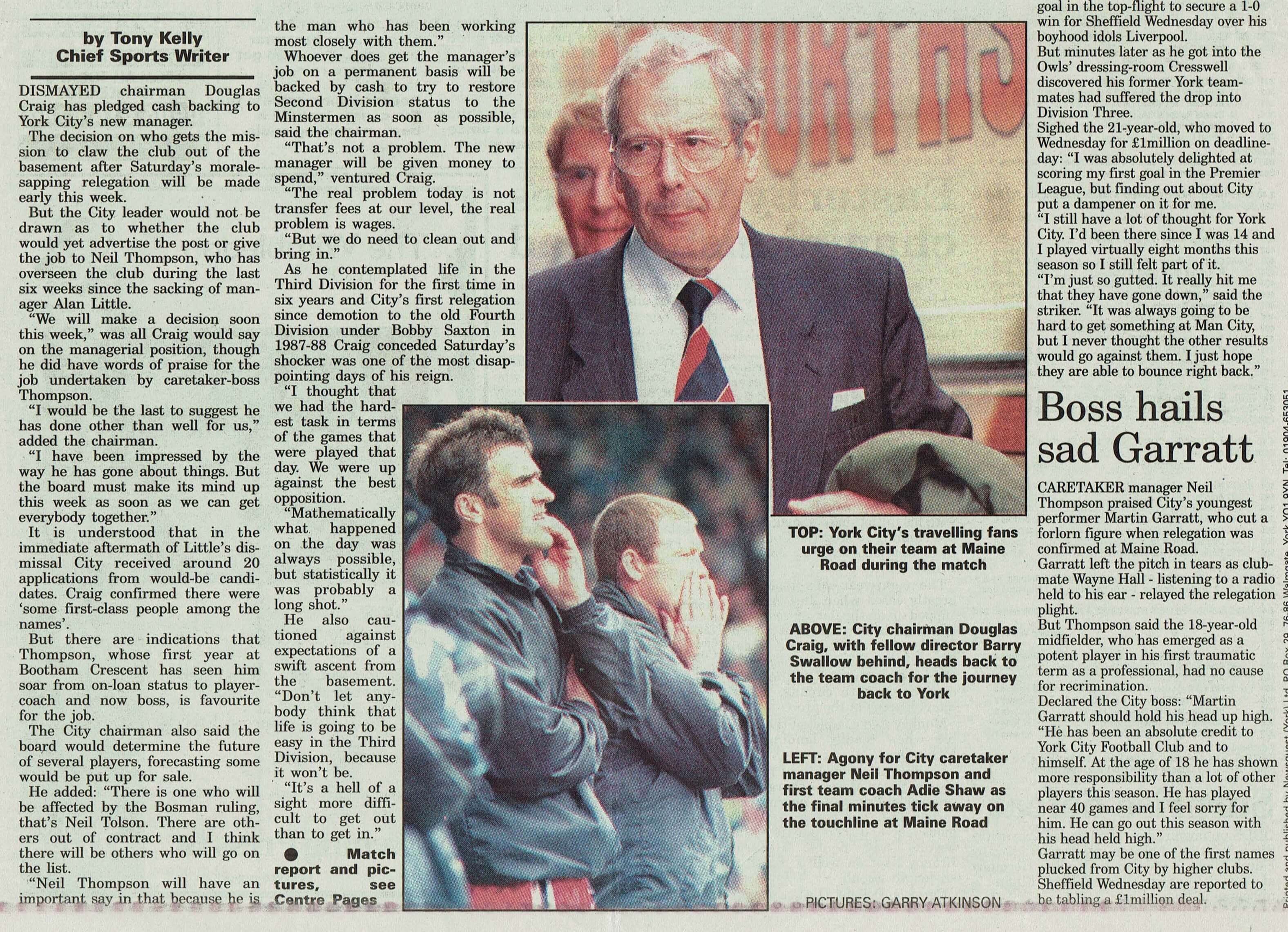 1999 - 2 years earlier and relegation (YEP 990510)