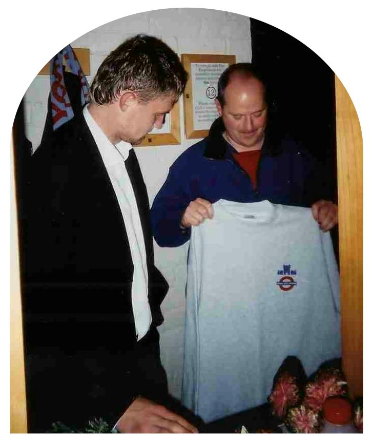 Another Sweatshirt Gone - Alastair presents Robbo with his man of the match award after the Canvey game